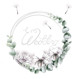 Round wreath dandelion in watercolor