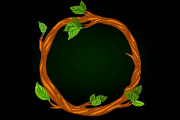 잎 나뭇 가지의 둥근 화 환입니다.