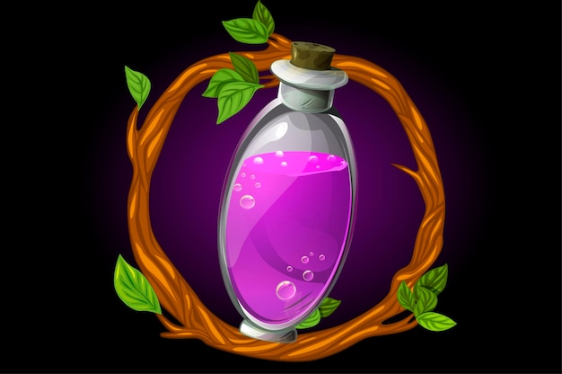 ボトルに入った小枝と魔法のポーションの丸い花輪 Premiumベクター