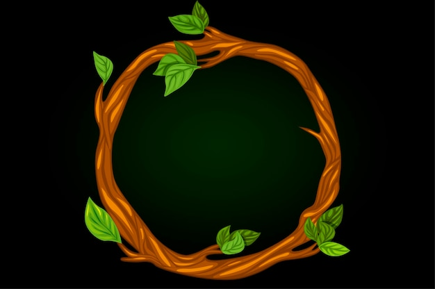 Round wreath of tree branches with leaves