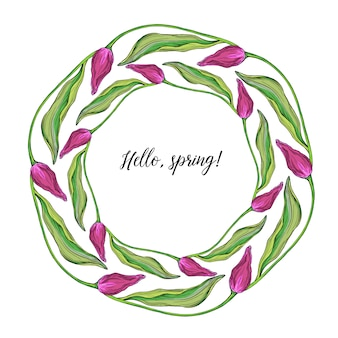 Round wreath of vector colored tulip flowers, spring flowers