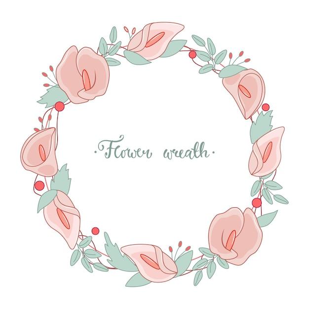 꽃과 잎이 있는 둥근 화환. 칼라 꽃. 인사말 카드, 포스터, 초대장, 결혼식에 대 한 벡터 일러스트 레이 션