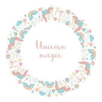 Round wreath with unicorn, rainbow, crown, star, cloud, crystals.