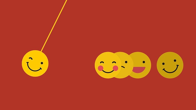 Round yellow emoticon in happy moods swing isolated on red background