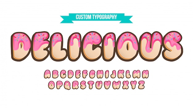 Rounded 3d doughnut top cartoonish typography