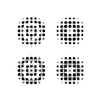 丸みを帯びた正方形の幾何学的なハーフトーンデザイン