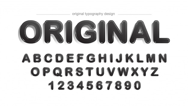 Rounded black with shadows typography