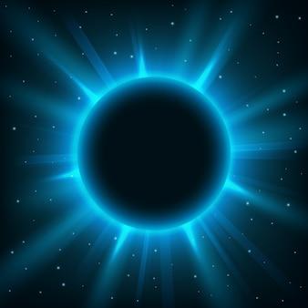 Rounded blue light illuminated