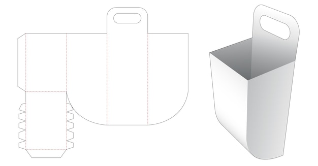 Rounded bottom container with handle die cut template