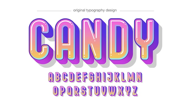 Rounded colorful gradient cartoon typography