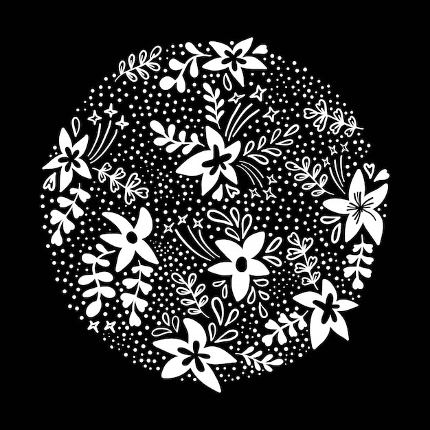 Rounded floral circle flowers on black in flat style