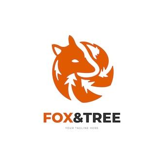 ヴィラやリゾートのツリーのロゴが付いた丸いキツネ