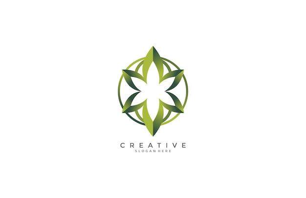 Округлый зеленый цветочный современный дизайн логотипа