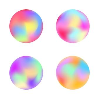 丸みを帯びたホログラフィックグラデーションボタン。プラカード、バナー、チラシ、プレゼンテーション、レポートのベクターテンプレート