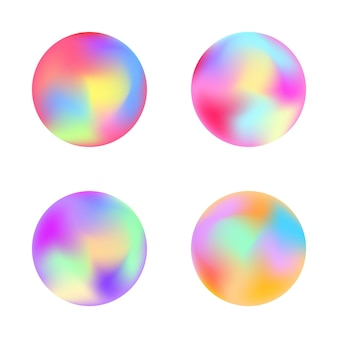 Rounded holographic gradient button. vector templates for placards, banners, flyers, presentations and reports
