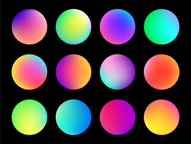 Rounded holographic gradient sphere button.