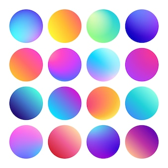 Rounded holographic gradient spheres. multicolor circle gradients,