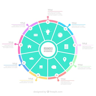 Rounded infographic template in pastel colors