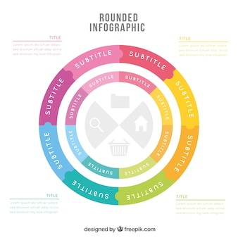 Rounded infographic template with several steps