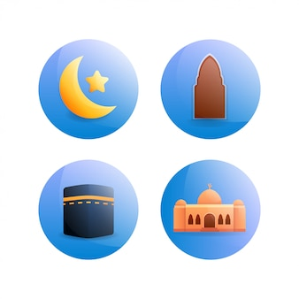 Rounded islamic icon illustration