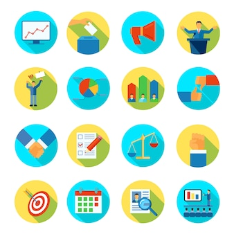 Rounded isolated abstract icon flat set about election voting and debates vector illustration