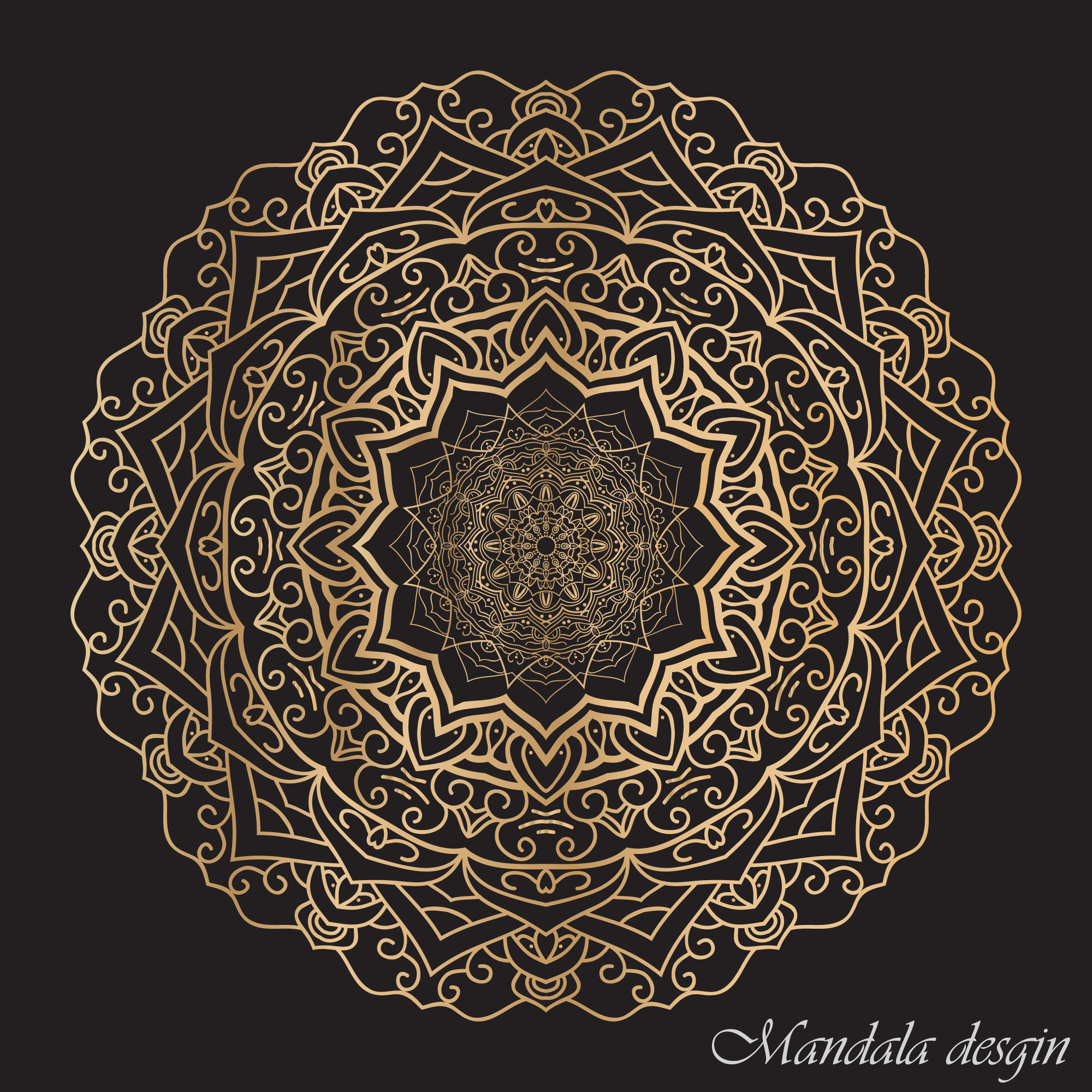 Rounded mandala with dark background