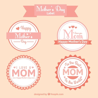 Rounded mother's day labels in vintage style