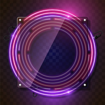 Rounded neon banner vector design. purple and pink combination.