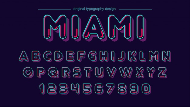Rounded neon color typography design