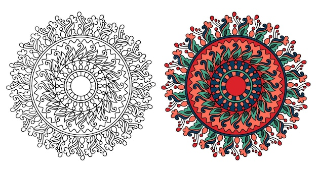 丸みを帯びた装飾用曼荼羅デザインぬりえブックページ