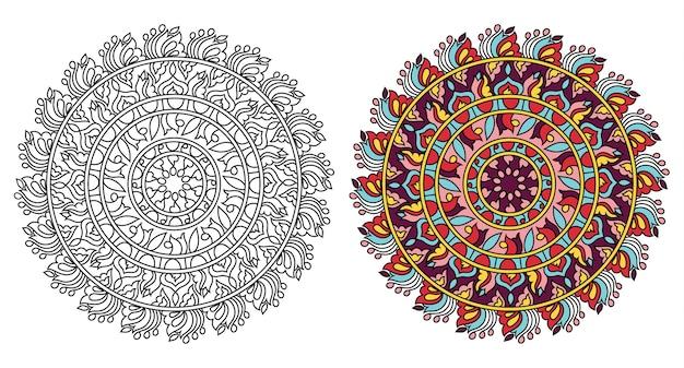 Страница книги раскраски округлый орнамент мандалы дизайн