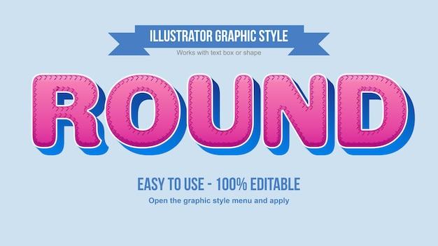 둥근 분홍색과 파란색 스티치 스트로크 만화 편집 가능한 텍스트 효과