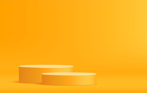 Rounded podium for product display on minimal scene yellow pedestal stage template
