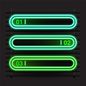 Rounded rectangle green neon banner