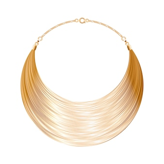 丸みを帯びたシンプルな金色のメタリックネックレスまたはブレスレット。個人的なファッションアクセサリー。図。