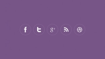 Rounded social icons in flat design