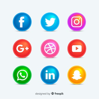 Rounded social media icons buttons