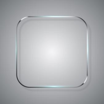 丸みを帯びた正方形の金属ガラスフレーム