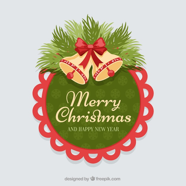 Rounded stiker christmas bells with a red border