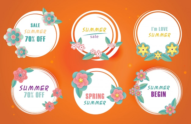 Rounded summer sale banner template