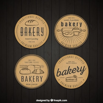 Rounded vintage bakery badges set