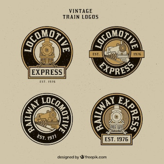 Rounded vintage train logo pack