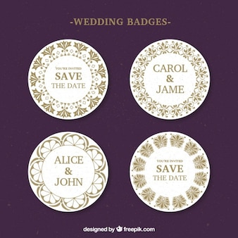 Rounded wedding badges