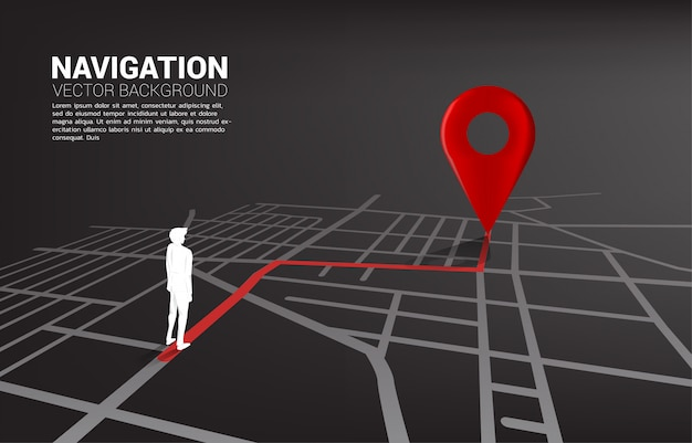 Route between 3d location pin markers and businessman on city road map