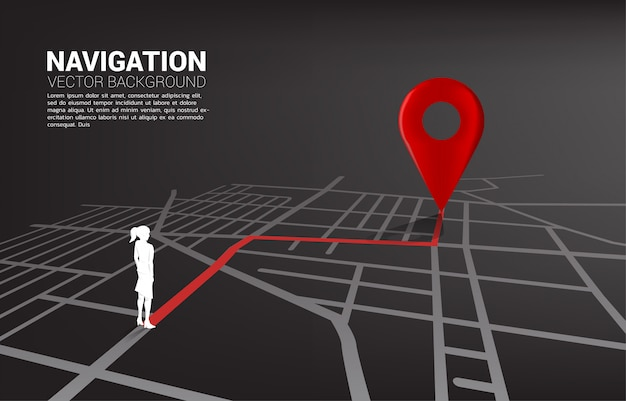 Route between 3d location pin markers and businesswoman on city road map.