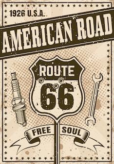 Плакат route 66 в винтажном стиле с заголовком american road