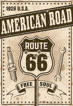 Route 66 poster in vintage style with headline american road