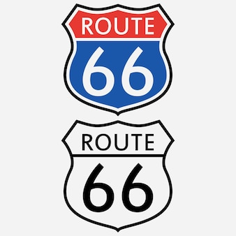Route 66 sign set. the first road sign in america. vector illustration.