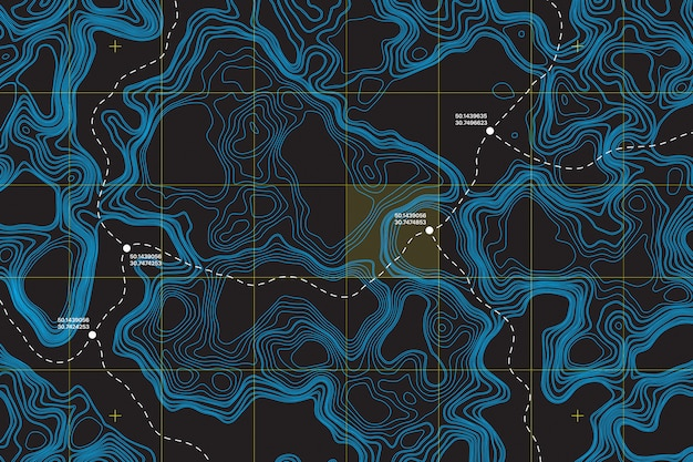 Координаты маршрута на топографической карте абстрактный фон Premium векторы