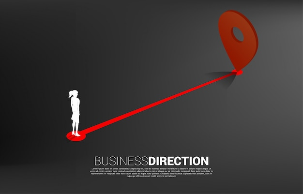 Route between  location pin markers and businesswoman . concept for location and business direction.